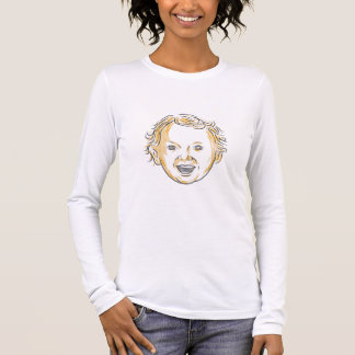Caucasian Toddler Smiling Drawing Long Sleeve T-Shirt