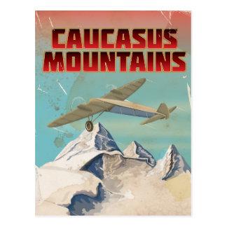 Caucasus mountains vintage travel poster postcard