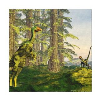 Caudipteryx and dilong dinosaurs - 3D render Canvas Print
