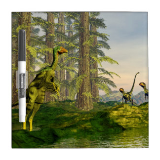 Caudipteryx and dilong dinosaurs - 3D render Dry Erase Board