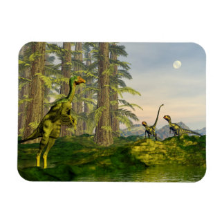 Caudipteryx and dilong dinosaurs - 3D render Magnet