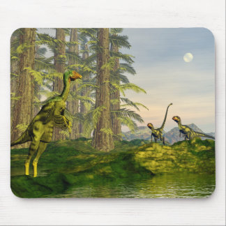 Caudipteryx and dilong dinosaurs - 3D render Mouse Pad