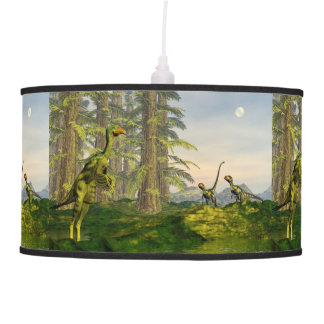 Caudipteryx and dilong dinosaurs - 3D render Pendant Lamp