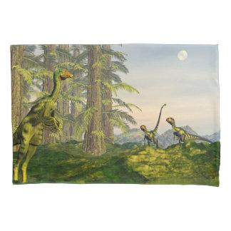Caudipteryx and dilong dinosaurs - 3D render Pillowcase