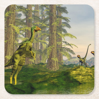 Caudipteryx and dilong dinosaurs - 3D render Square Paper Coaster