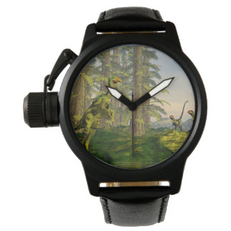 Caudipteryx and dilong dinosaurs - 3D render Wristwatches