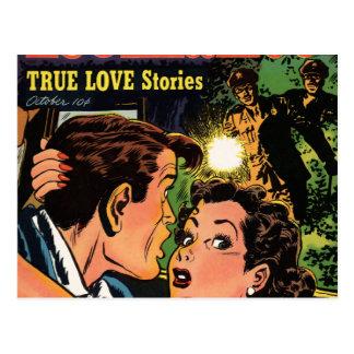 Caught in an Embrace Comic Book Romance Postcard