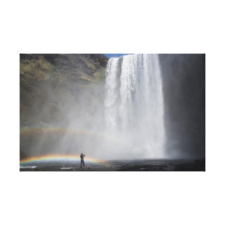 Caught in the Mist at Skógafoss Waterfall, Iceland Canvas Print