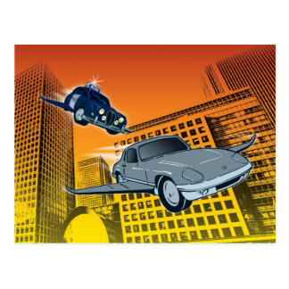 Caught Speeding. Graphic art post card