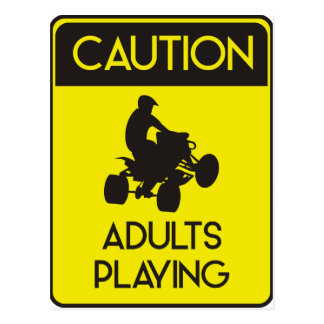 CAUTION ADULTS PLAYING POSTCARD