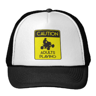 CAUTION ADULTS PLAYING TRUCKER HAT