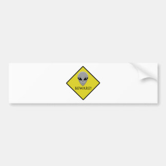 CAUTION ALIEN BUMPER STICKER