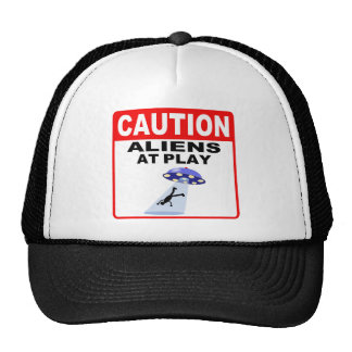 Caution Aliens At Play (Black Text) Mesh Hats