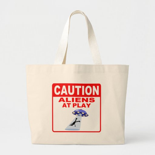 Caution Aliens At Play (Red Text) Bags