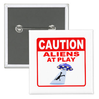 Caution Aliens At Play Red Text Buttons