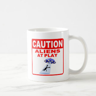 Caution Aliens At Play (Red Text) Basic White Mug