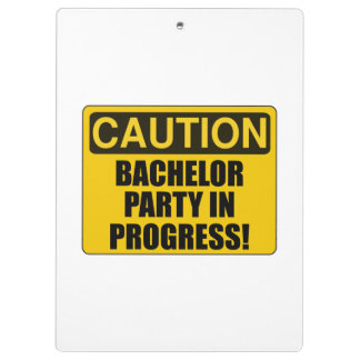 Caution Bachelor Party Progress Clipboards