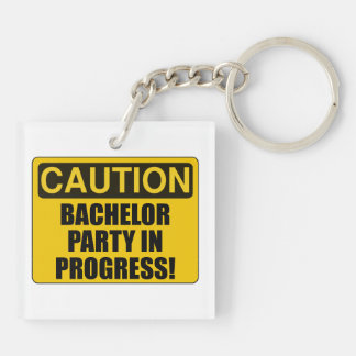 Caution Bachelor Party Progress Double-Sided Square Acrylic Keychain
