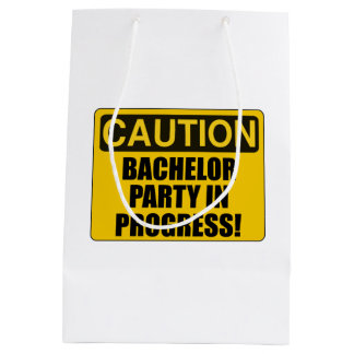 Caution Bachelor Party Progress Medium Gift Bag