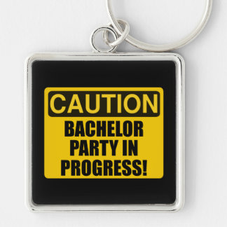 Caution Bachelor Party Progress Silver-Colored Square Keychain