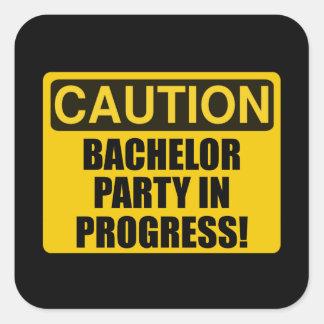 Caution Bachelor Party Progress Square Sticker