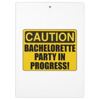 Caution Bachelorette Party Progress Clipboards