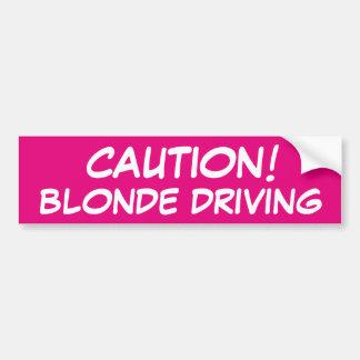 CAUTION Blonde Driving Bumper Sticker