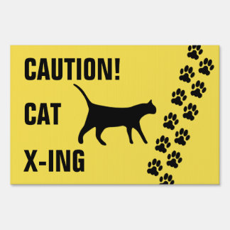 Caution Cat Crossing•Cat Paw Print Tracks Sign