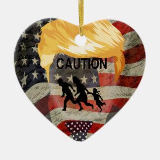 Caution Ceramic Heart Ornament