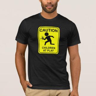 Caution Children at Play - running with scissors T-Shirt