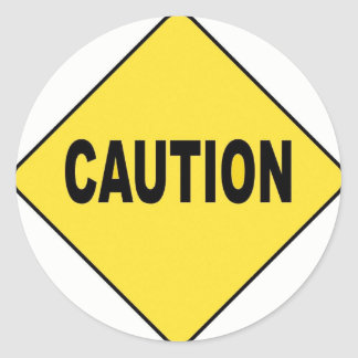 caution classic round sticker