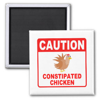 Caution Constipated Chicken Red Lettering Magnets