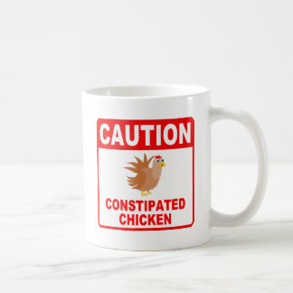 Caution Constipated Chicken Red Lettering Basic White Mug