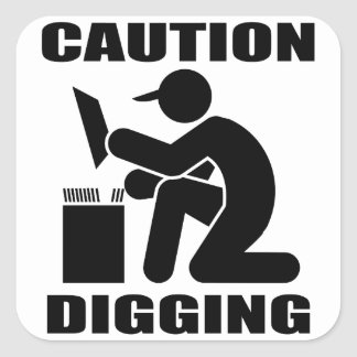 Caution Digging Square Sticker