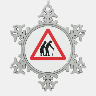 CAUTION Elderly People - UK Traffic Sign Snowflake Pewter Christmas Ornament
