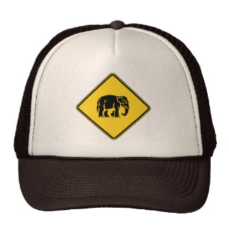 Caution Elephants Crossing ⚠ Thai Road Sign ⚠ Trucker Hat