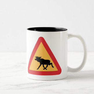 Caution Elks, Traffic Sign, Sweden Two-Tone Coffee Mug