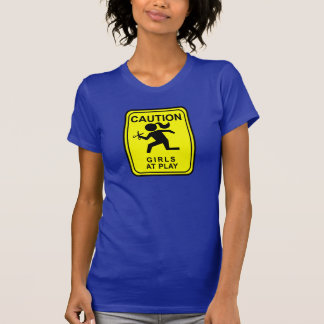 Caution Girls at Play - running with scissors T-Shirt