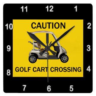 Caution Golf Cart Crossing Sign Wallclocks
