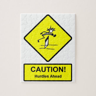 Caution Hurdles Ahead road sign Track and Field Jigsaw Puzzle