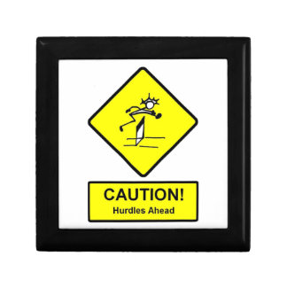 Caution Hurdles Ahead road sign Track and Field Trinket Box