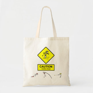 Caution Hurdles Ahead sign Track & Field Athletics Tote Bag