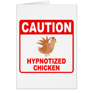 Caution Hypnotized Chicken (Red) Greeting Card