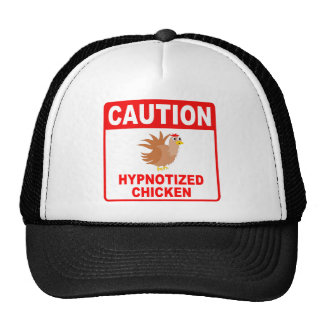 Caution Hypnotized Chicken (Red) Trucker Hat