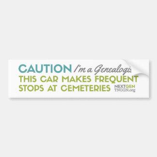 Caution I'm a Genealogist Bumper Sticker