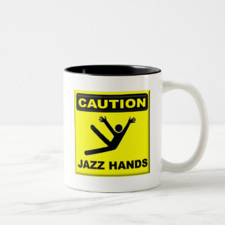 Caution Jazz Hands Two-Tone Coffee Mug
