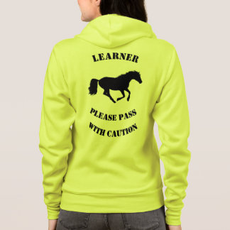 Caution learner horse rider safety hoodie