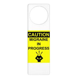 caution migraine door hanger