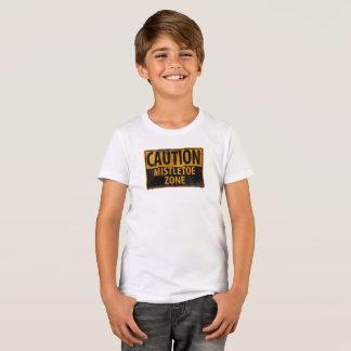 Caution Mistletoe Zone Christmas Kiss Danger Sign T-Shirt