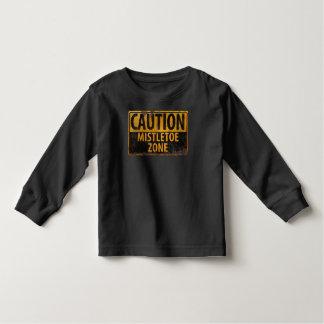 Caution Mistletoe Zone Christmas Kiss Danger Sign Toddler T-shirt